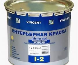 VINCENT I-2 Краска акрилатная для потолков и стен сухих помещений база А