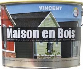 VINCENT MAISON EN BOIS / Водно-дисперсионная краска-лазурь для дерева база C / Винсент Мэзон эн Буа