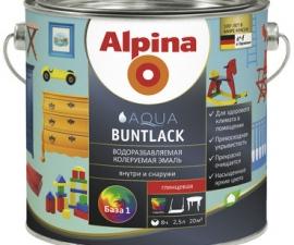 ALPINA AQUA BUNTLACK эмаль универсальная глянцевая база-3 бесцветная