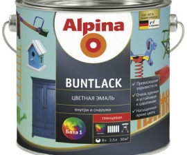 ALPINA BUNTLACK эмаль универсальная шелковисто-матовая бесцветная